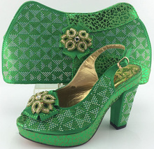 Italian design Matching shoe and bag set African party shoe and bag set for Nigeria wedding