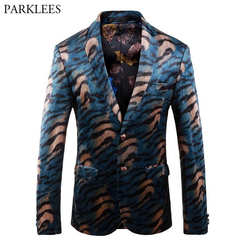 Mens Luxury Leopard Pattern Dress Suit Notched Lapel Slim Fit Stylish Blazer Jacket Male Nighhtclub Party Stage Blazer Masculino