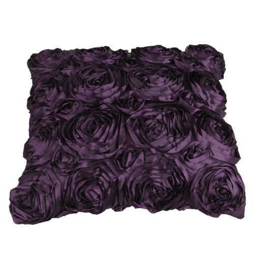Hot sale in stock Purple Satin Rose Flower Pillow Cushion PillowCase Cover