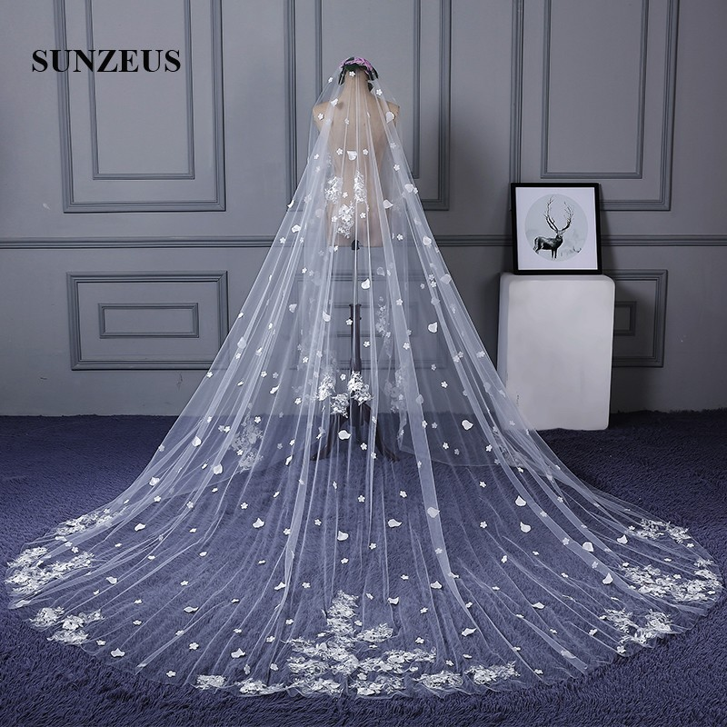 3 Meters Width 4 Meters Long Luxurious Wedding Veils Long Church Bridal Veil with Lace Appliques