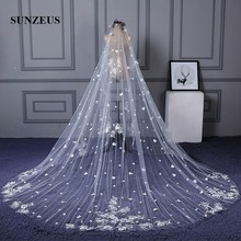 3 Meters Width 4 Long Luxurious Wedding Veils Church Bridal Veil with Lace Appliques and Flowers SBV24