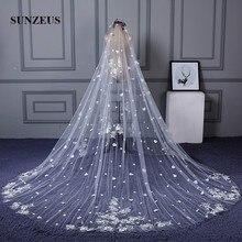 Véu de casamento luxuoso, longo 3 metros de largura, 4 metros de comprimento, véu de noiva com apliques de renda e flores sbv24