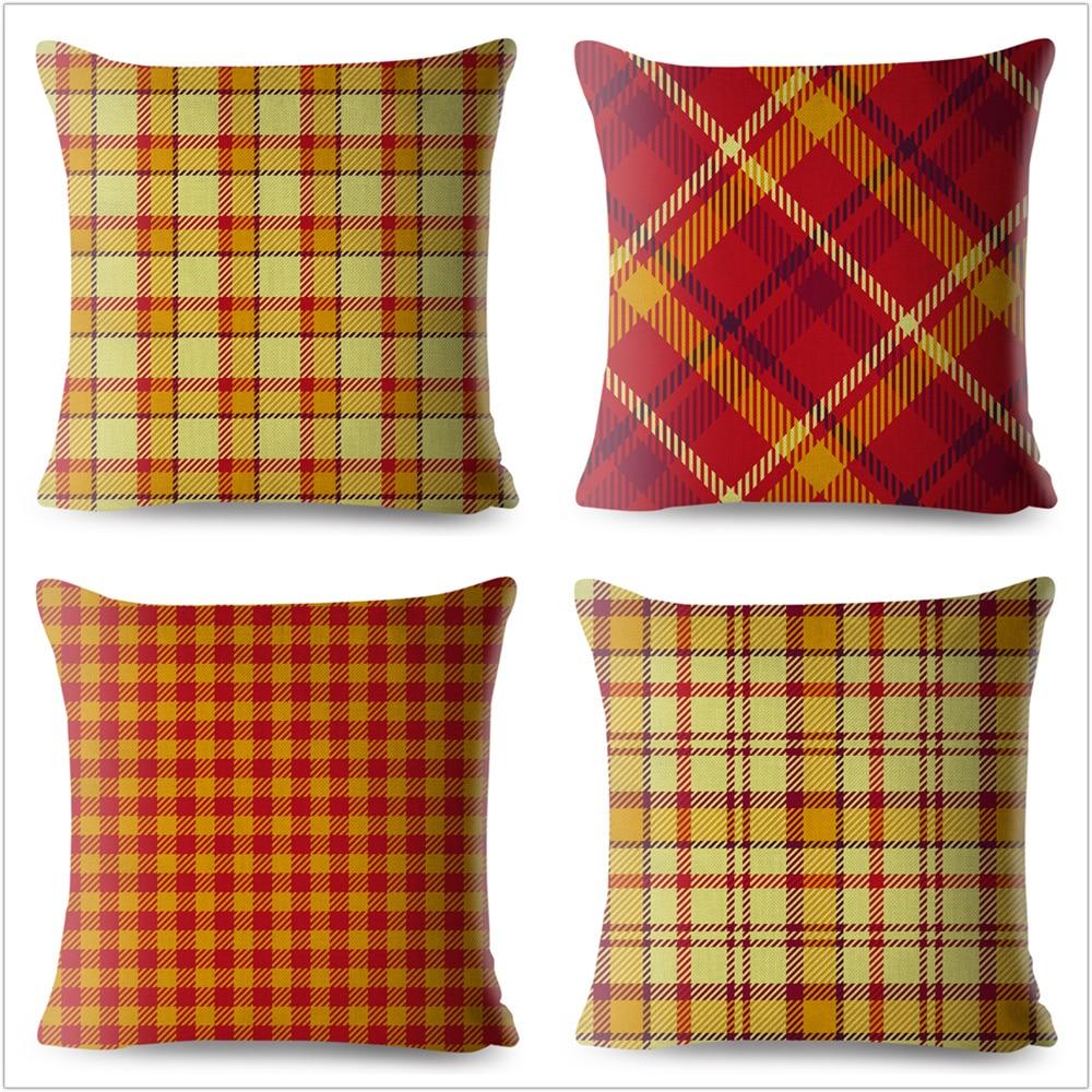 Scotland Plaid Red Yellow Cushion Cover Sofa Home Vintage Decor Geometric Pillowcase Throw Pillow Case Linen 45x45cm