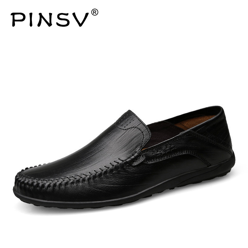 PINSV Shoes Men Loafers Flats Casual Flats Leather Genuine slip-on Male Genuine Leather Shoes Mens Shoes Large Sizes 36-45 branded men s penny loafes casual men s full grain leather emboss crocodile boat shoes slip on breathable moccasin driving shoes