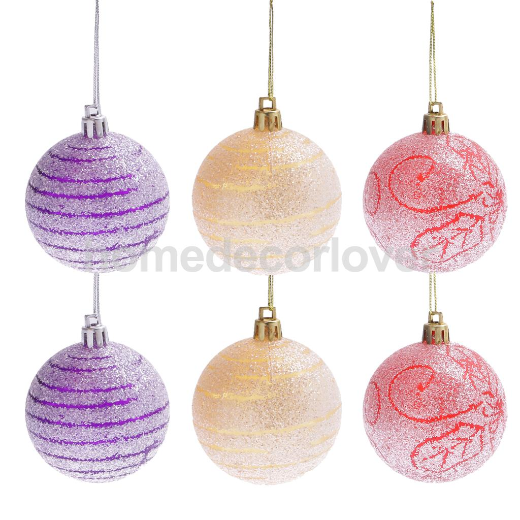 Plastic ornament hangers - 6pcs Glitter Christmas Balls Baubles Holiday Tree Hanging Ornaments Hanger Pendants Decoration 6cm China