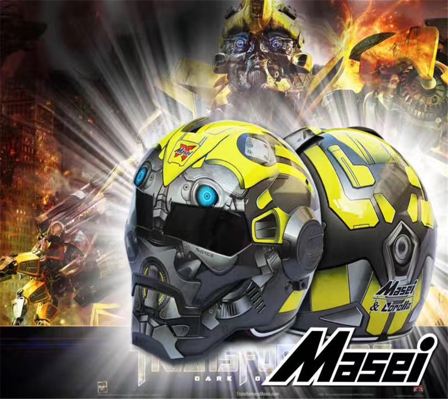 Free shipping Top ABS Moto biker Helmet ktm MASEI Iron Man  special fashion half open face motocross helmet Bumblebee transformers маска bumblebee c1331