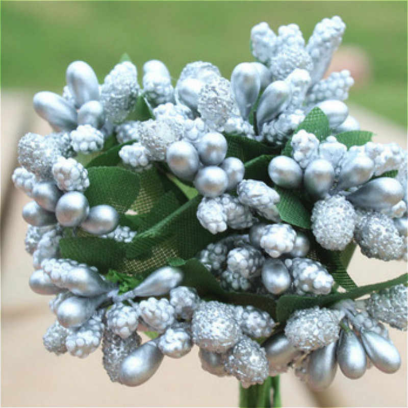 SUEF 1/5/10PC stamens handmade bubble glass beads beautiful artificial flowers cheap wedding decoration diy flowers @3