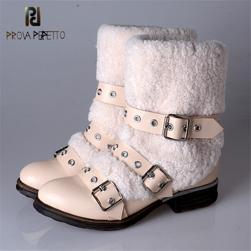 Prova Perfetto Sweety Genuine Leather With Fur Buckle Strap Design Woman Short Boots Fashion Warm Round Toe Low Heel Snow Boots l433mm lifting screw rod with screw nut m20x 2mm tooth pitch for jinma baoma edm small hole drilling machines edm spare parts