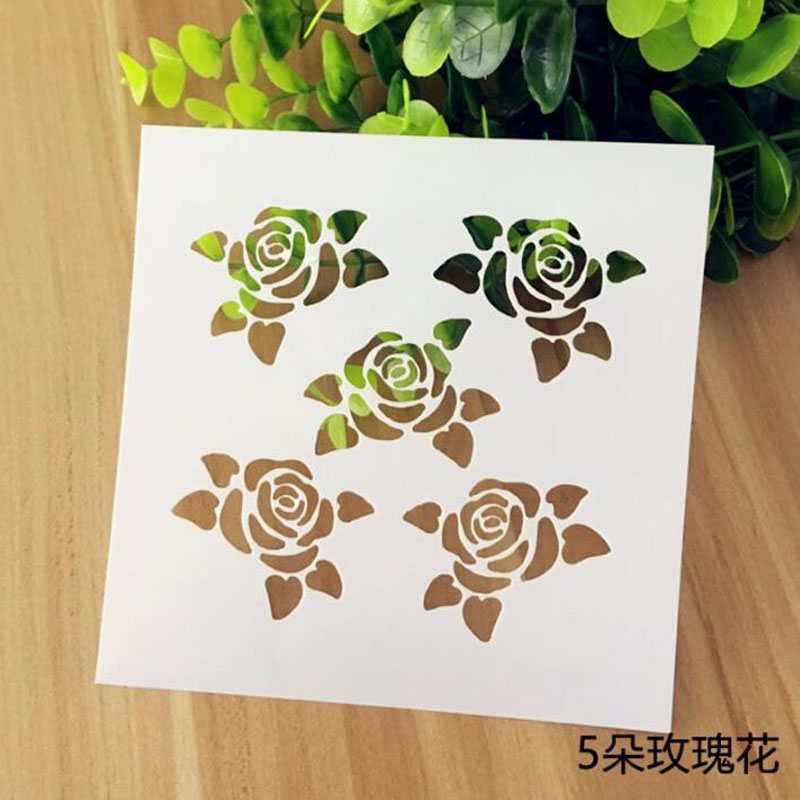Stencil Reusable Rose Flower Painting Hollow Template Stencils For Painting Wall Scrapbooking Photo Album Embossing Paper Cards