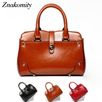 Znakomity Real cow leather tote bag Fashion vintage brown handbag women genuine leather women shoulder bag woman hand bag charms tote bag