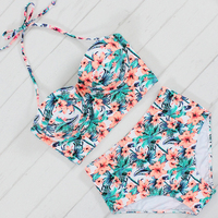 2017 Sexy Floral Printed Summer Beach Bathing Suit Push Up Swimsuit Women Underwire Swimwear Bikini Set