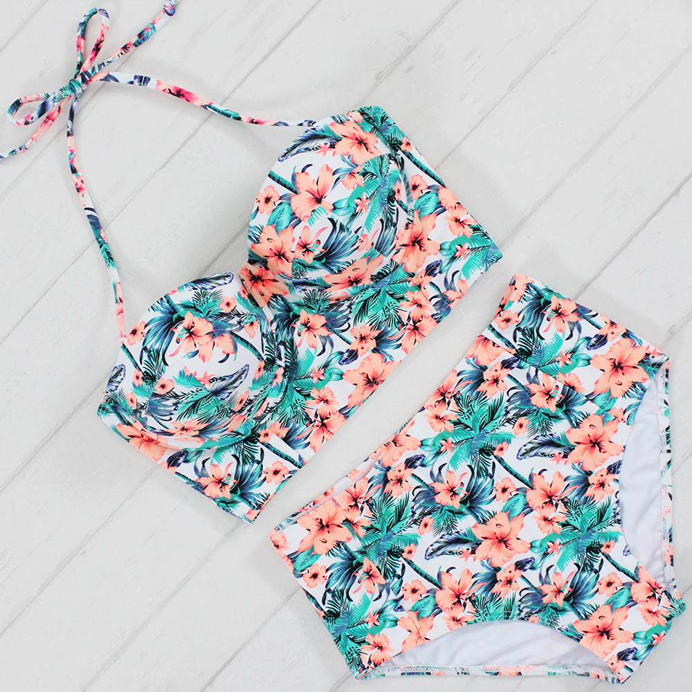 2017 Sexy Floral Printed Summer Beach Bathing Suit Push Up Swimsuit Women Underwire Swimwear Bikini Set High Waist Beachwear summer sexy swimsuit vintage high waist bikini retro push up swimwear women plus size bathing suit printed floral bikinis set