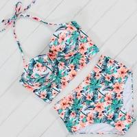2017 Sexy Floral Printed Summer Beach Bathing Suit Push Up Swimsuit Women Underwire Swimwear Bikini Set
