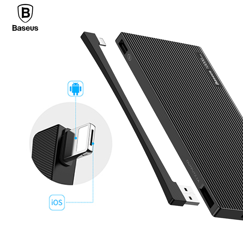 Baseus 10000mAh Dual USB Power Bank Portable External Battery Charger For iPhone Mobile Phone LCD font
