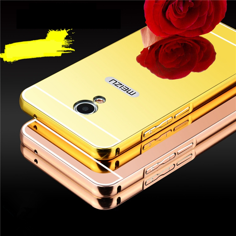 Luxury Plating Mirror Case For Meizu MX4 Metal Aluminum Bumper Acrylic Hard PC Back Cover For Meizu MX4 5.36  Phone Case Coque