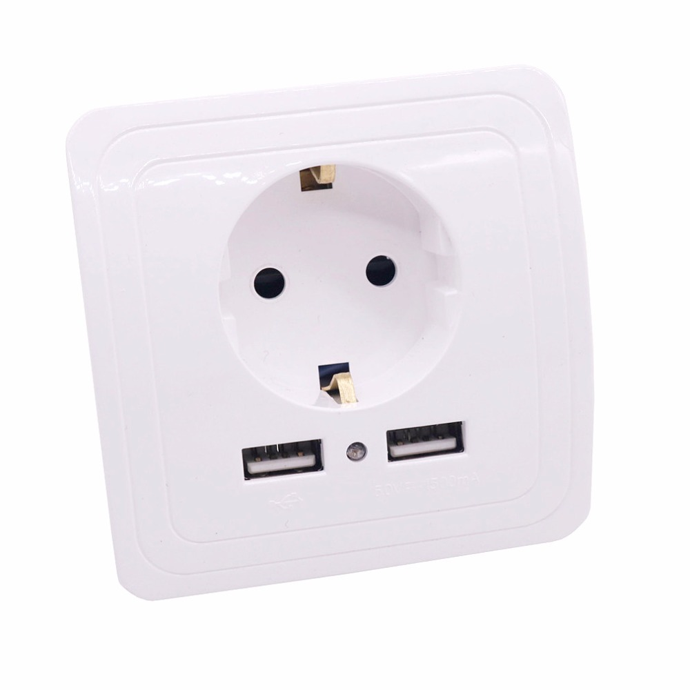With A Dual USB German Socket German Standard Power Outlet European Socket European Regulations 16A European Standard Wall Socke