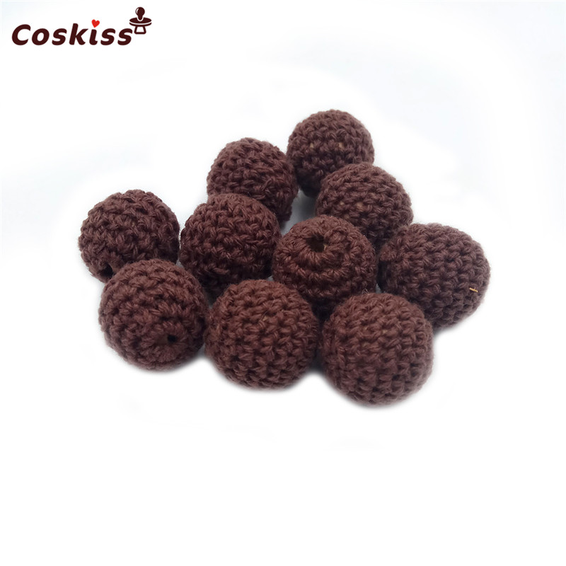 10pcs Elegant Crochet Beads Available For Choose Knitted By Cotton Thread DIY Wooden Teether Jewellery Making,Crochet ball Beads