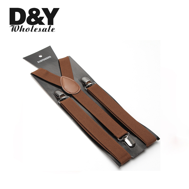 Quality Women Men 2.5cm Light Brown Unisex Clip-on Braces Elastic Slim Suspender Y- back Suspenders Wholesale & Retail