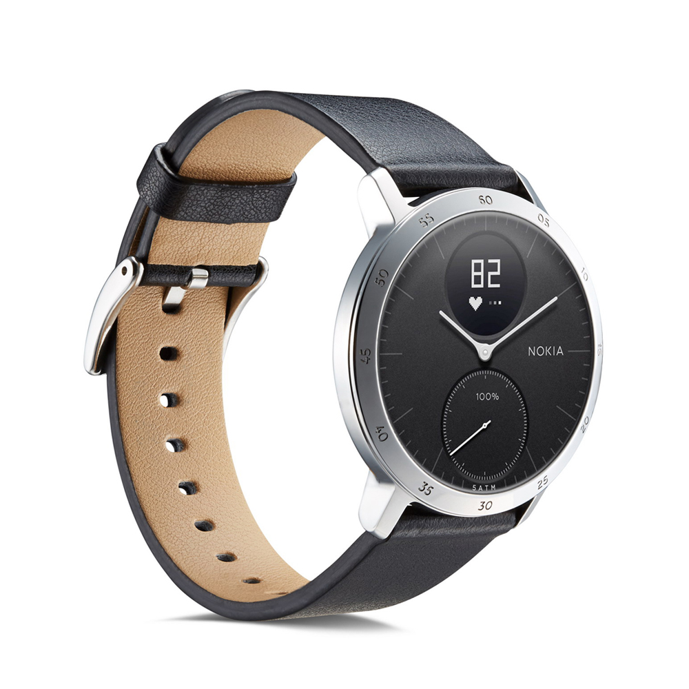 Ktab Watch-Band Quick-Release-Strap Steel 18mm Nokia Withings Genuine-Leather HR