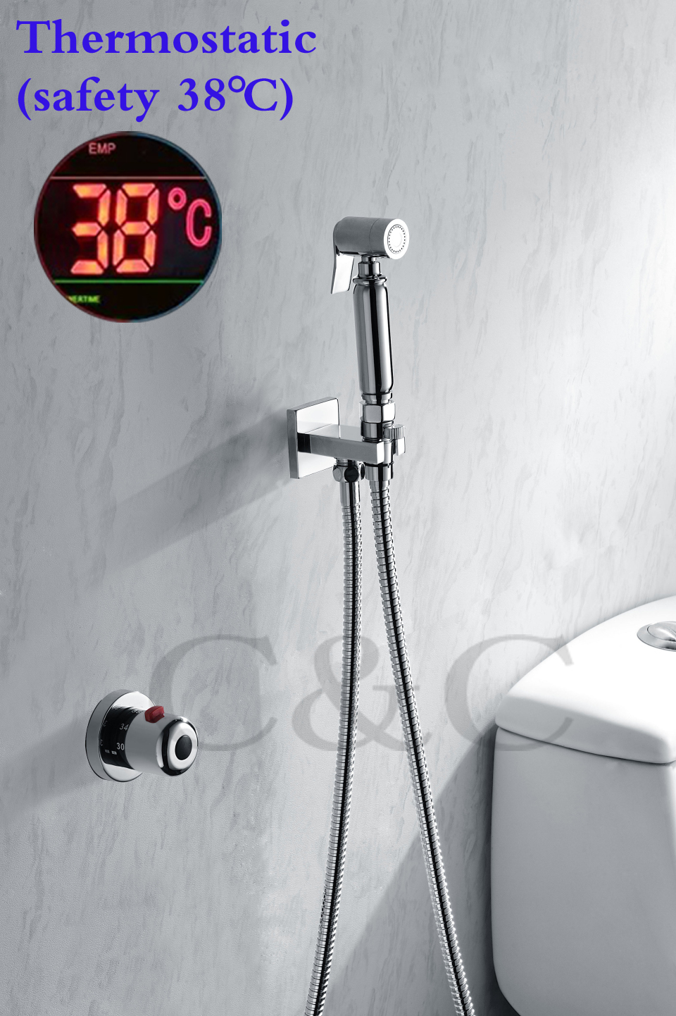 Thermostatic Handheld Toilet Bidet Faucet Hygiene Personal Cleaning ...