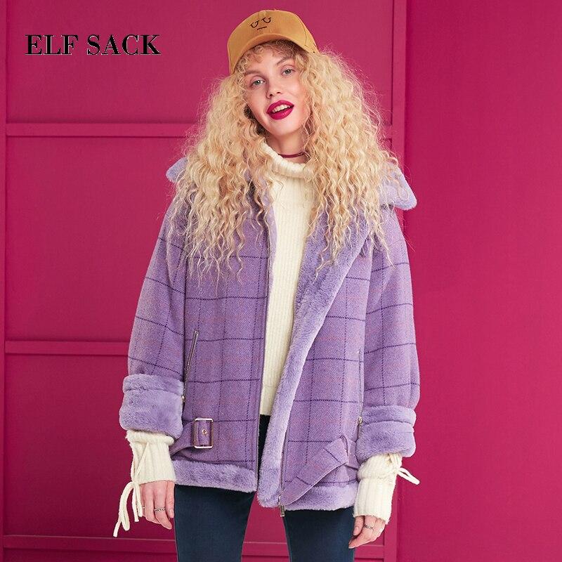 ELF SACK Winter Neue Mode Faux Pelz Jacken Frau Volle drehen unten Kragen Breite taille Frauen Mäntel Casual streetwear Femme Mäntel-in Kunstpelz aus Damenbekleidung bei  Gruppe 1
