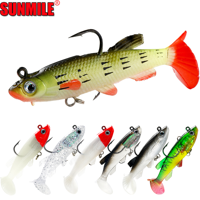 SUNMILE 5pc Fishing Soft Lure Lead Head Jig 85mm/12.5g Artificial Baits Swimbaits Wobbler Leurre Souple Lure for Pike Bass Perch