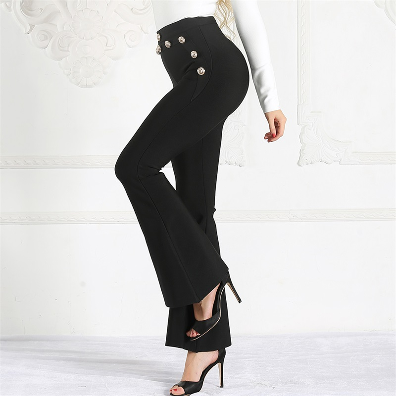 Black High Waist Pants Women 2019 Spring Summer New Bodycon Botton Trousers Ladies Celebrity Party Skinny Long Flare Pants-in Pants & Capris from Women's Clothing    3