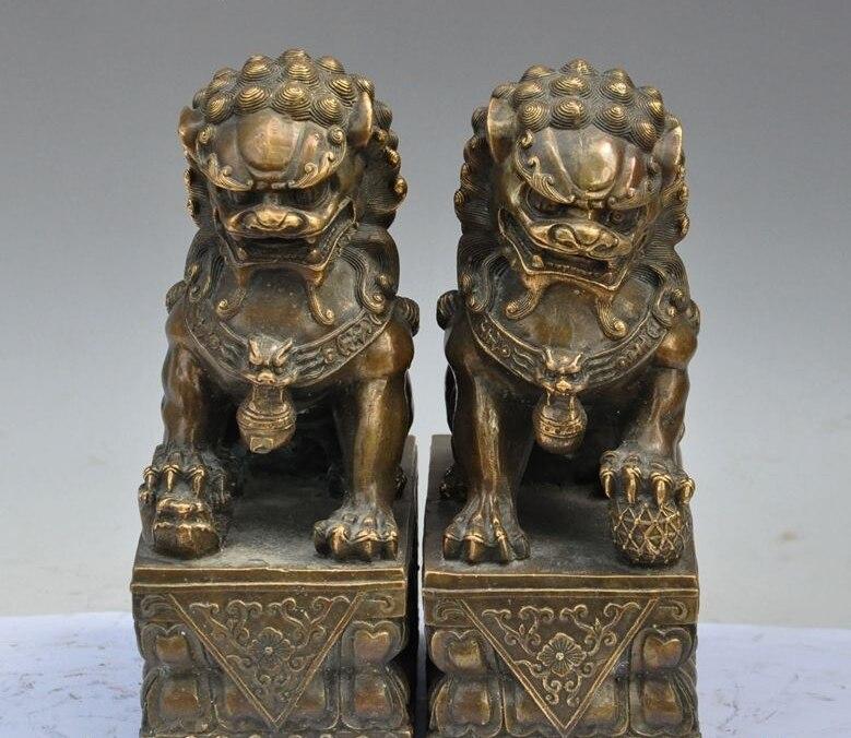 chinese Fengshui bronze Evil spirits foo dog lion beast lucky auspicious statue