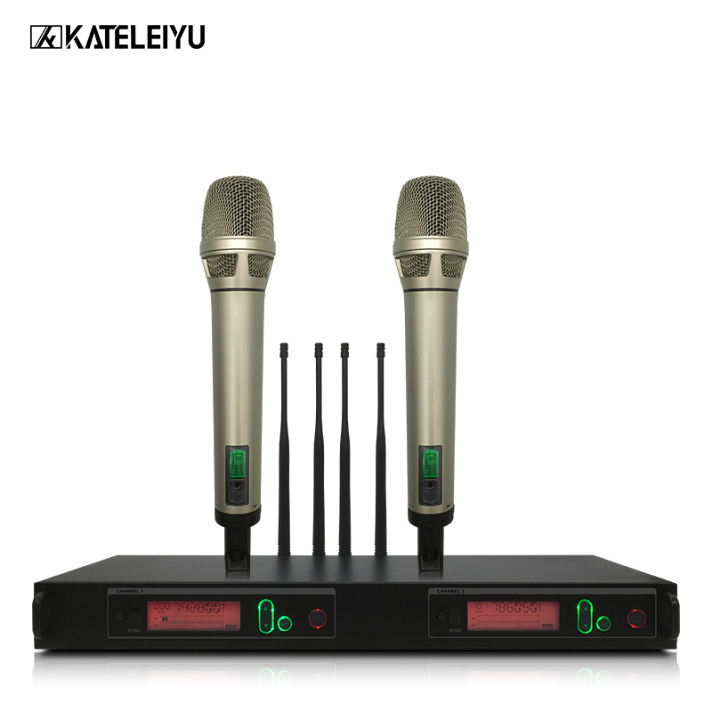 Top Wireless Microphone System Professional Microphone 2 Channel UHF Dynamic Professional 2 Handheld Karaoke Microphone professional karaoke wireless microphone system 2 channels led display receiver cordless handheld mike for mixer stage computer