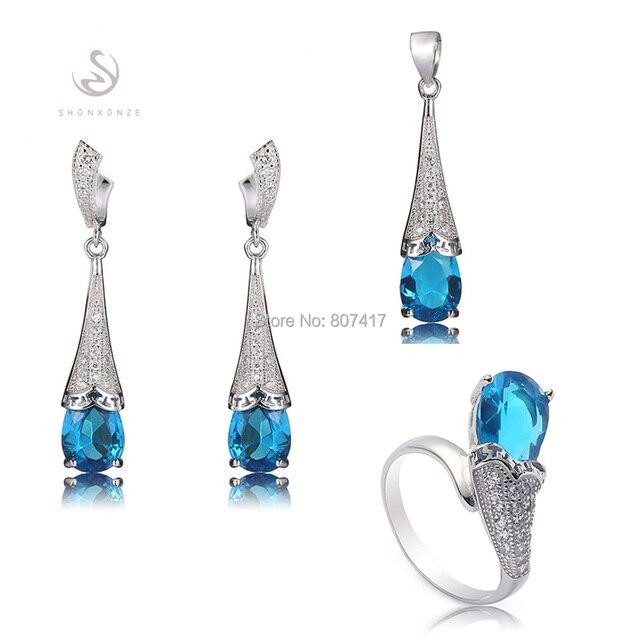 Синий кубический цирконий S 925 чистое серебро в форме сердца комплект ( кольцо / серьги / кулон ) S-3710set # 6 7 8 9