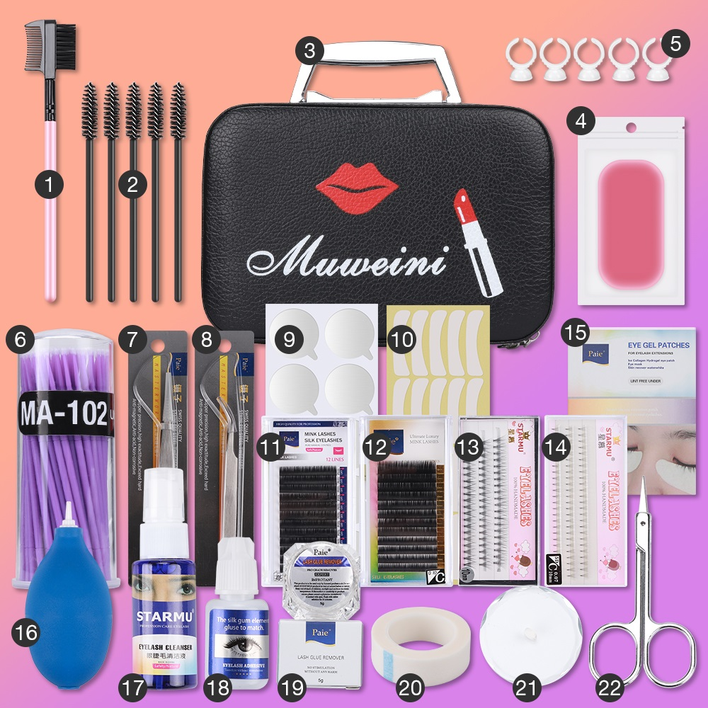 22pcs Set Eyelash Extension Set Special Grafting Eyelash Set for Beauty Salon No Stimulating Glue Easy