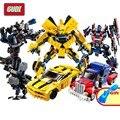 GUDI 2 En 1 Autobots Bumblebee Optimus Prime Transformación DIY Bloques de Construcción de Juguetes de Dinosaurios Modelo de Ladrillos de Juguete de Regalo Para Niños
