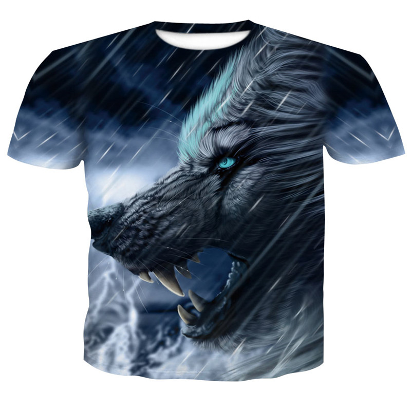 2018 hot sale Newest Aggressive Anger Wolf T-shirts 3d T-Shirt Animal T-shirt Men Hip Hop Homme Casual T-Shirt cheap