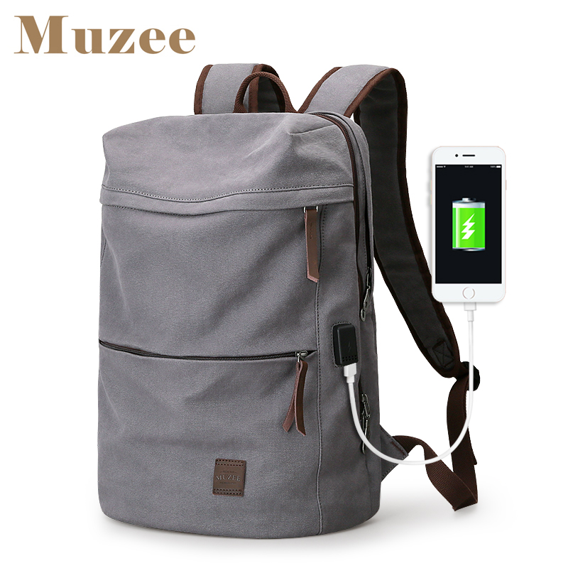 Muzee 2019 New Canvas Backpack USB Design Backpack Men male Student Bag for Weekend Mochila suit