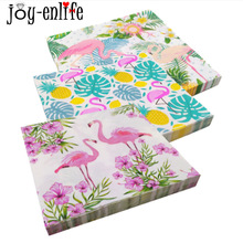 JOY-ENLIFE 20 pcs Flamingo Serviette Papier Flamingo Thème Party Décorations D'été Piscine Plage Parti D'anniversaire Partie Fournitures