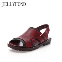 JELLYFOND Brand Summer Shoes Woman 2018 Handmade Genuine Leather Peep Toe Vintage Style Flat Heel Gladiator Sandals