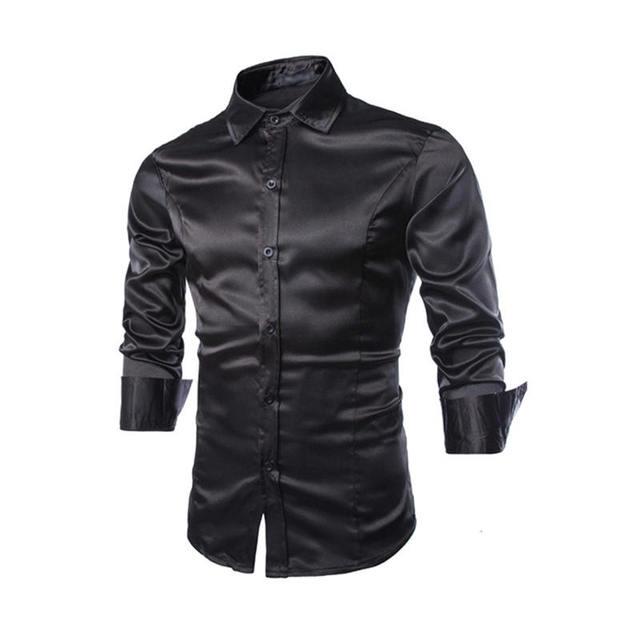 Camisas de Los nuevos Hombres Camisas de Vestir de Esmoquin Slim Fit De Manga Larga Casual Camisas Tops Estilo Fresco Brillante Caliente 0759