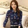 Em 2016 a nova moda do verão das mulheres lapela camisa é de alta qualidade borboleta chiffon blusas camisa formal camisa