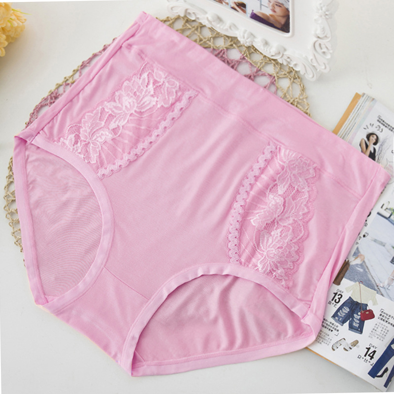 QA283 High Waist Briefs Bamboo Fiber Lace Women Lingerie Culotte Femme Plus Size Sexy   Panties   Underwear