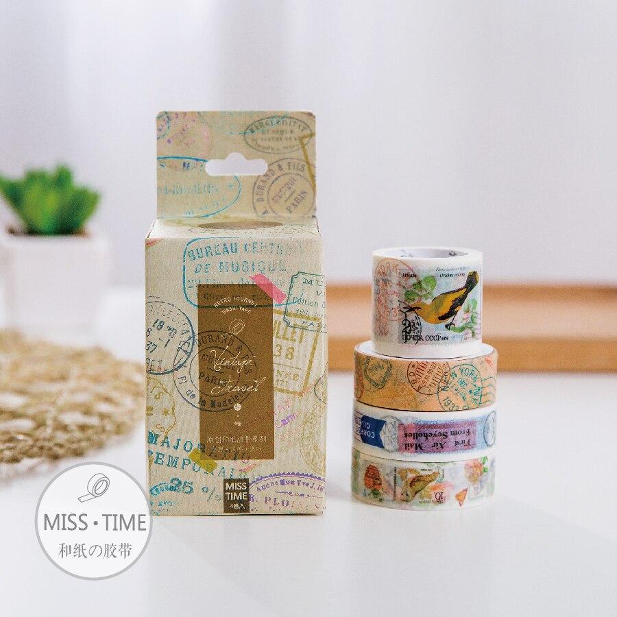 8PCS combined diy retro travel photo album diary masking tape washi tape retro washi tape japanese masking tape seamless decorative masking tape for scrapbooking photo album drop shipping