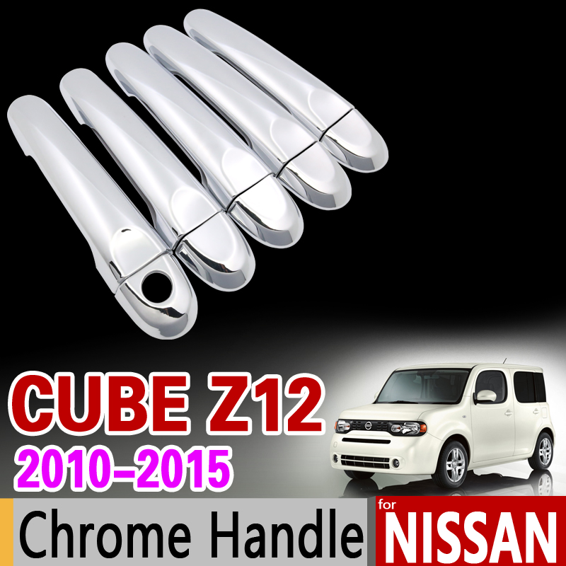 for Nissan Cube z12 2010 - 2015 Chrome Door Handle Cover Trim Set 5Door 2011 2012 2013 2014 Car Accessories Stickers Car Styling for toyota isis platana 2004 2015 chrome handle cover trim set 2005 2006 2007 2008 2010 2012 2013 2014 accessories car styling