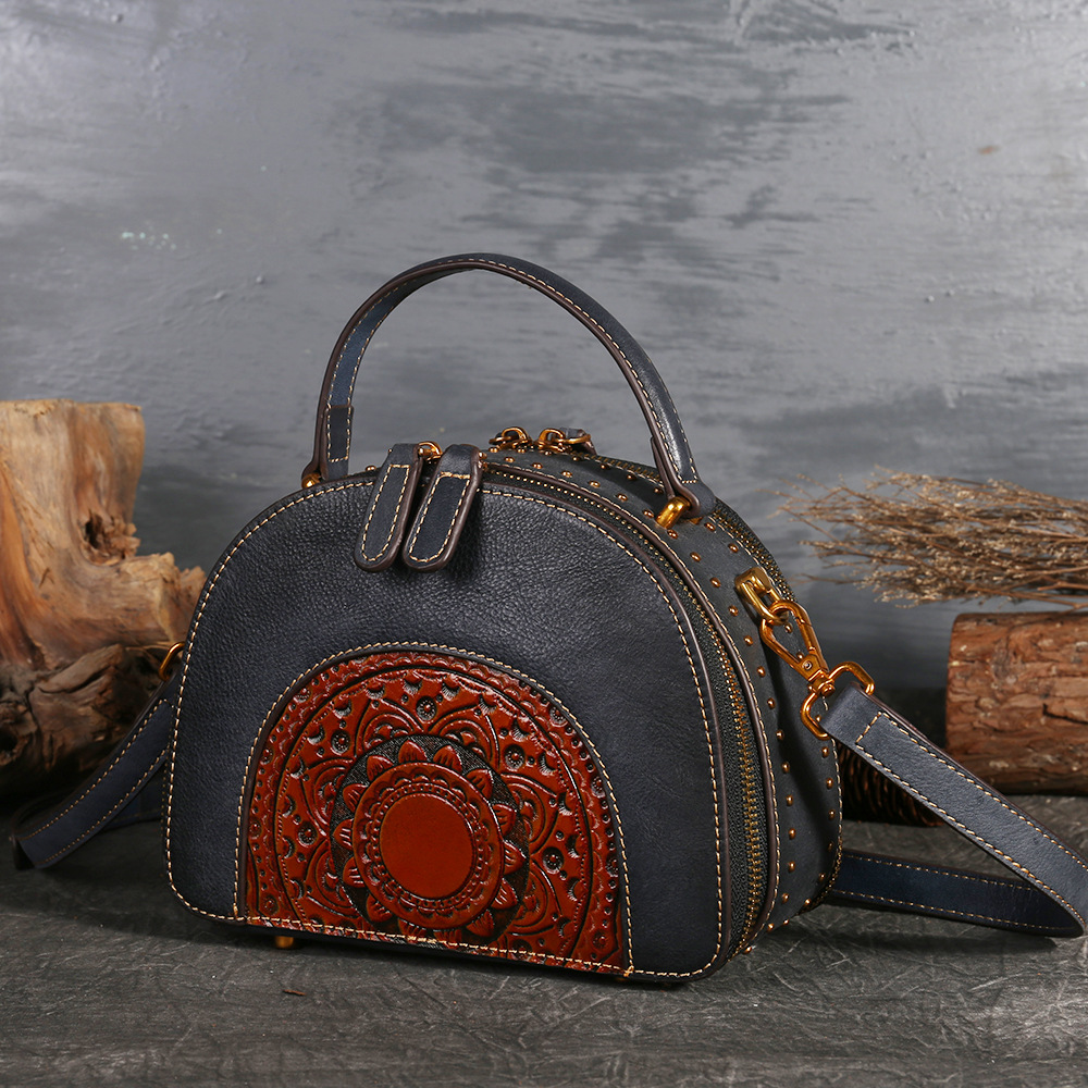 2018 Luxury Women Genuine Leather Handbags Ladies Retro Elegant Shoulder Messenger Bag Cow Leather Handmade Womans