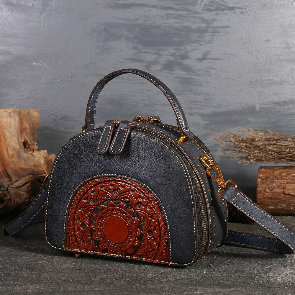 2018 luxe femmes en cuir véritable sacs à main dames rétro élégant épaule sac de messager en cuir de vache à la main femmes sacs Vintage