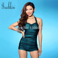 One Piece New 2014 Fashion Brand Vintage Swimwear Women Sexy Swimsuit Mobile Breast Pad Ruffle