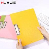 HUA JIE Macaron Portfolio Document Folders PU Leather Clip File Writing Board Date Paper File Holder