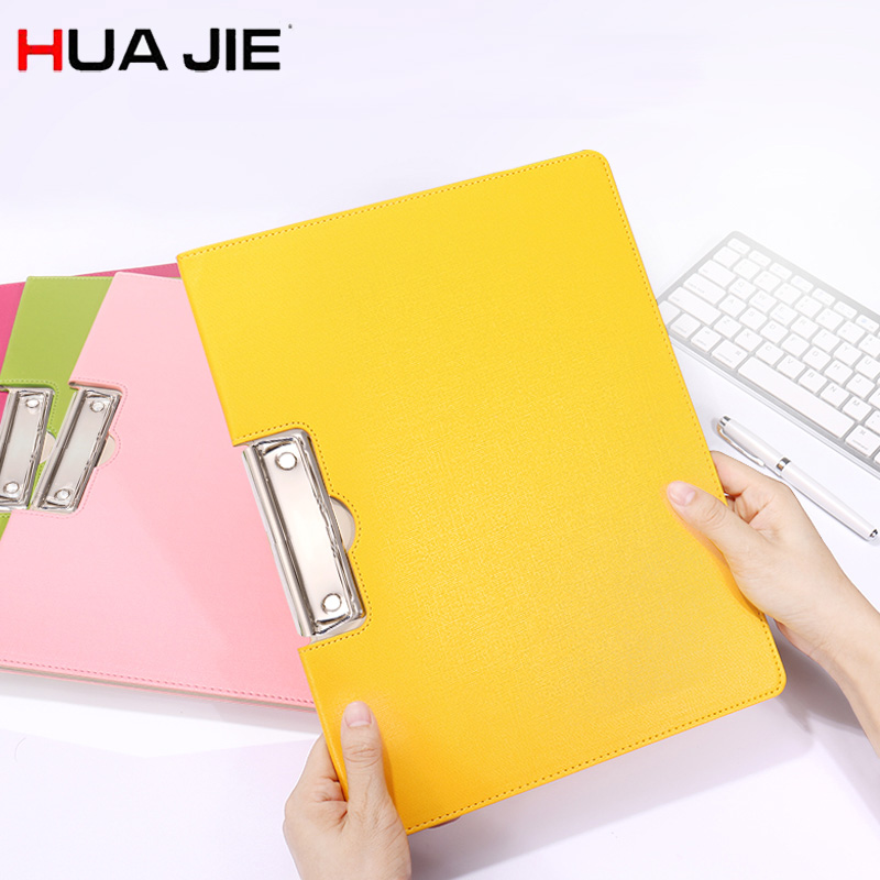 HUA JIE Macaron Portfolio Document Folders PU Leather Clip File Writing board Date/Paper File Holder Clipboards Hotel Menu Books hua jie pu leather portfolio pocket folder card holders a4 paper file document organizer bag for meeting menu covers restaurants