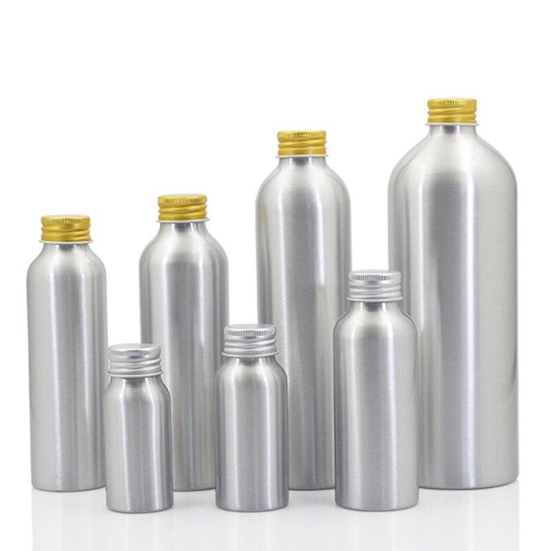 Image 2 - Sedorate 20 pcs/Lot Empty Aluminum Bottles With Aluminum Screw Lid Caps 30ML 50ML 100ML 120ML 150ML 250ML 500ML Container JX156Refillable Bottles   -
