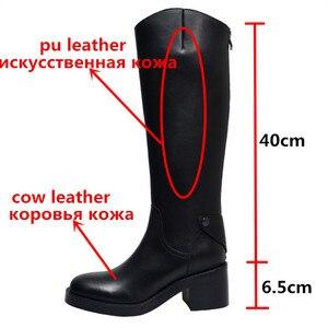 Image 2 - Morazora 2020 Nieuwe Collectie Vrouwen Knie Hoge Laarzen Ronde Neus Lederen Schoenen Vierkante Hakken Knight Platform Laarzen Vrouwelijke Zwarte