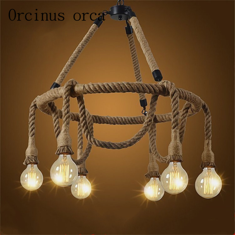 The Nordic country retro restaurant cafe bar chandelier rope winding creative ceiling lamps Industrial wind Postage free contemporary and contracted creative personality retro art glass chandelier cafe restaurant study lamps act the role of milan