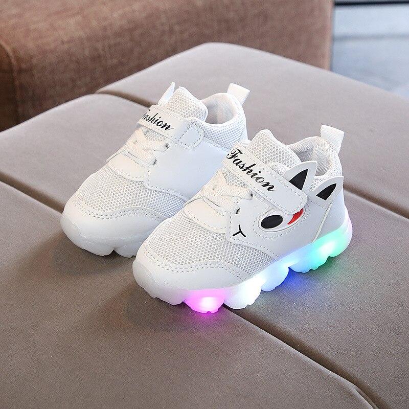 LED enfants chaussures pour filles garçons lumineux brillant enfants baskets sport course LED éclairé enfants maille baskets V11262